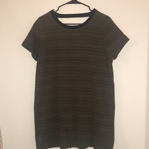 Forever 21 Army Green Striped T-Shirt Dress